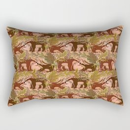 Badgers in Woodland Forest Plants under the Fall Sun, Cute Badger Mom & Baby in Woods Brown Green Rectangular Pillow