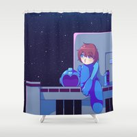 megaman Shower Curtains featuring Megaman II  by Thais Magnta Canha