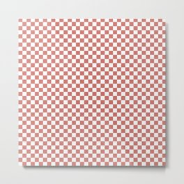 Small Camellia Pink and White Checkerboard Square Pattern Metal Print