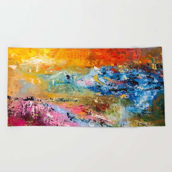 LAVENDER MEADOWS AT SUNSET Beach Towel
