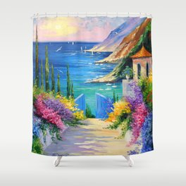 Sunny road to the sea Shower Curtain