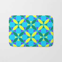 Geometric Floral Circles Vibrant Color Challenge In Bold Purple Yellow Green & Turquoise Blue Bath Mat