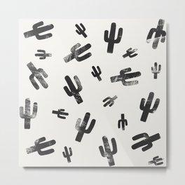 Black and White Lino Print Cactus Pattern Metal Print