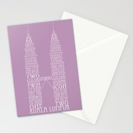 'Wordy Structures' Petronas Towers (purple) Stationery Cards