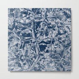 Custom Modern Abstract Blue Crinkle Pattern Metal Print
