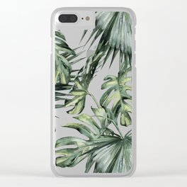 Palm Leaves Classic Linen Clear iPhone Case