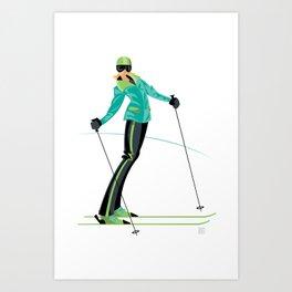 Ski Girl Lean Back Art Print