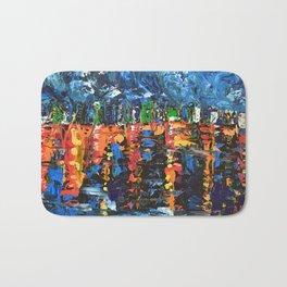 Sleepless City - Abstract palette knife city landscape art by adriana Dziuba Bath Mat