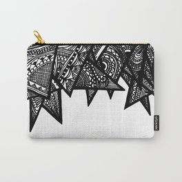 Triangle Henna Print- B+W Carry-All Pouch