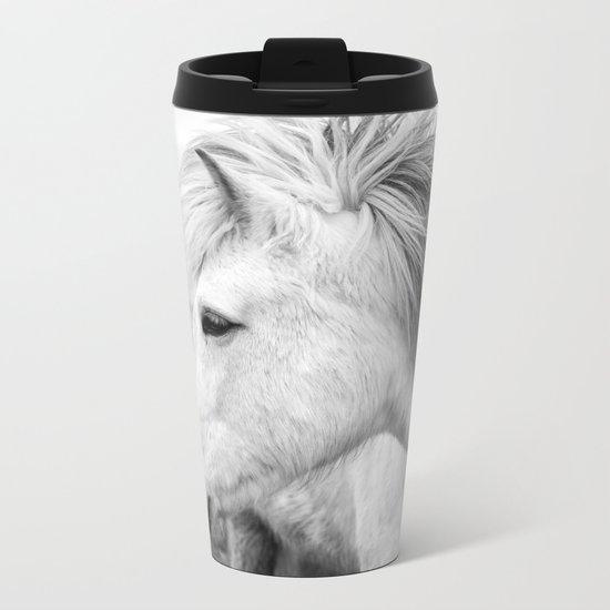 Black and white Horse Metal Travel Mug