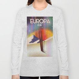 Europa To Ski Sci-fi travel poster Long Sleeve T-shirt