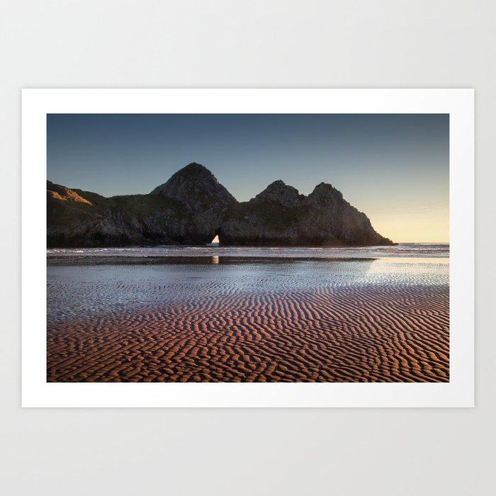 Three Cliffs Bay Gower peninsula Art Print by leightoncollins