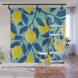 Lemon tree - vintage yellow lemon tree hand drawn illustration Wall Mural