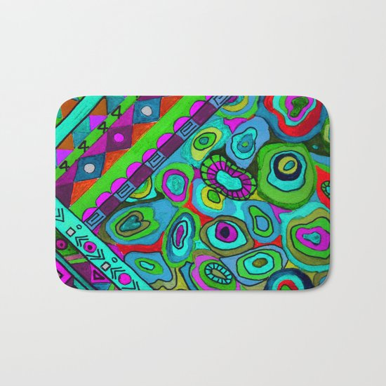 Abstract ethnic pattern in blue and turquoise tones . Bath Mat