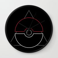 pokeball Wall Clocks featuring pokeball by Winter Graphics