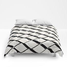 Modern Diamond Lattice Black on Light Gray Comforters
