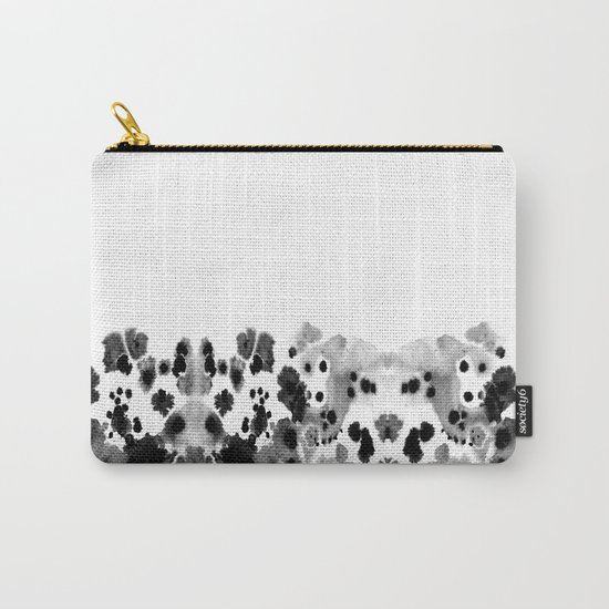 Mona - Black and White Painted Spots, painterly, abstract, monochrome cell phone case Carry-All Pouch