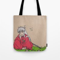inuyasha Tote Bags featuring InuYasha by MoonKitty Designs