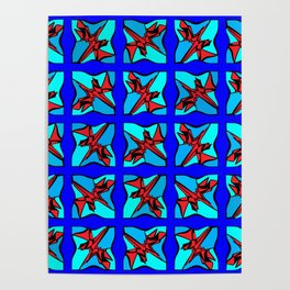 Abstract Red Dino Poster