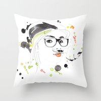 moustache Throw Pillows featuring Moustache by Jana Bonsignore Illustration
