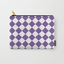 Diamonds - White and Dark Lavender Violet Carry-All Pouch