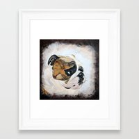 english bulldog Framed Art Prints featuring English Bulldog by Kristiekoz