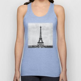 Eiffel tower in B&W with painterly effect Unisex Tank Top