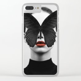 BLACK BUTTERFLY Clear iPhone Case