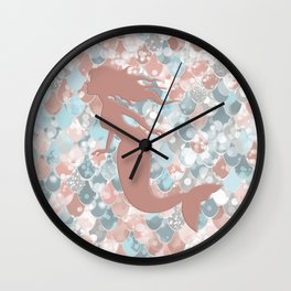 Elegant Mermaid Blush, Pink, Coral, Aqua, Teal Wall Clock