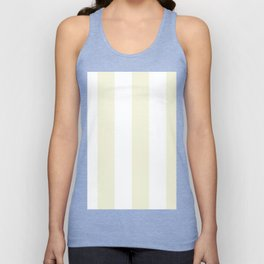 Wide Vertical Stripes - White and Beige Unisex Tank Top