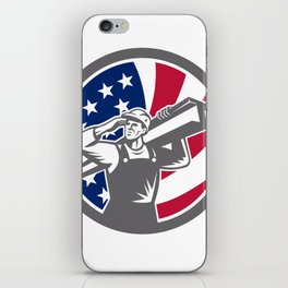 American Construction Worker USA Flag Icon iPhone Skin