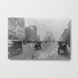 1900 Times Square, NYC, Longacre Square, cityscape black and white photograph Metal Print