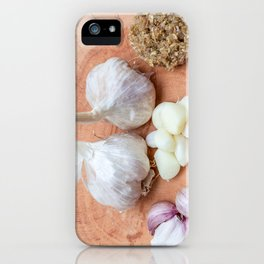 gon a wooden plank lies garlic mashed as well as knoll iPhone Case