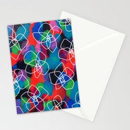 Flower Pattern Floral Illustration Black Flowers Abstract Painting Enjoy Every Color Within You Stationery Cards