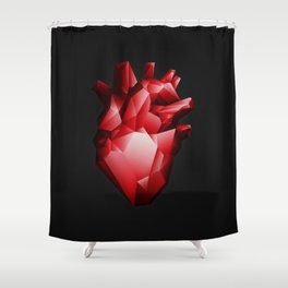 Ruby Red Heart Shower Curtain