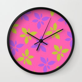 Illustration of flowers(pink background) Wall Clock