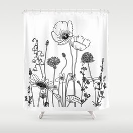 Wildflowers with Poppies Shower Curtain