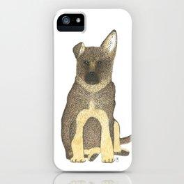 """Blue"" the German Shepherd Dog (GSD) Puppy iPhone Case"