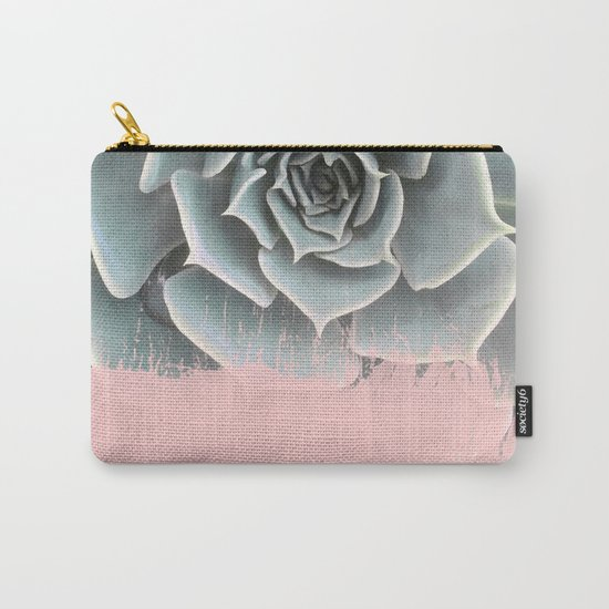 Sweet Pink Paint on Succulent Carry-All Pouch