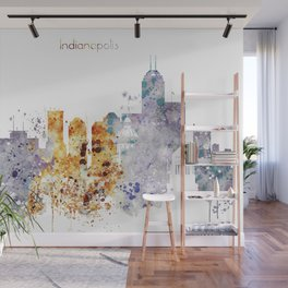 Indianapolis City Skyline Wall Mural