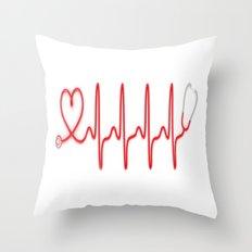 Ekg Heart Stethoscope Throw Pillow