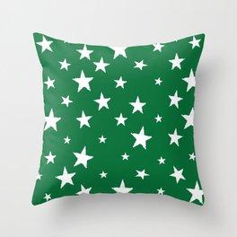 Hand-Drawn Stars (White & Olive Pattern) Throw Pillow