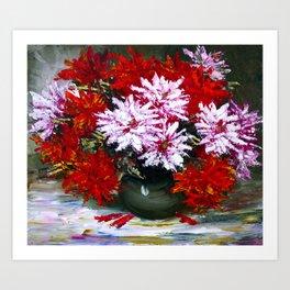 Holiday chrysanthemums Art Print