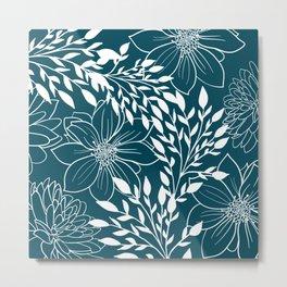 Floral Prints and Leaves, Line Art, Teal Metal Print