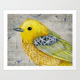 Yellow Warbler Tilly (Vintage Edition) Art Print
