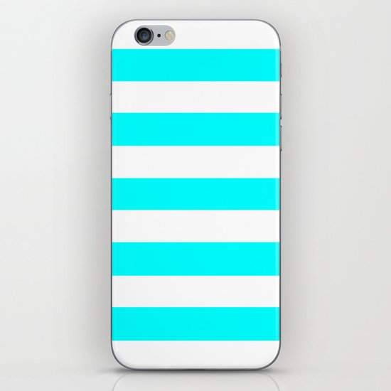 Electric cyan - solid color - white stripes pattern by makeitcolorful