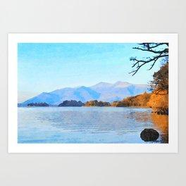 Mountains Behind Derwentwater, Lake District, Cumbria, UK Art Print