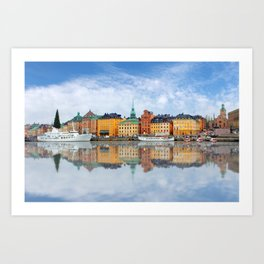 A Panorama of Gamla Stan in Stockholm, Sweden Art Print