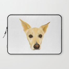 Super Cute White Dog with Big Ears Portrait Laptop Sleeve