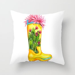 Collection of cacti and succulents Throw Pillow